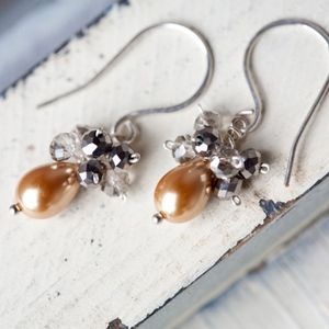NEW! Champagne Pearls Crystal Earrings Handmade